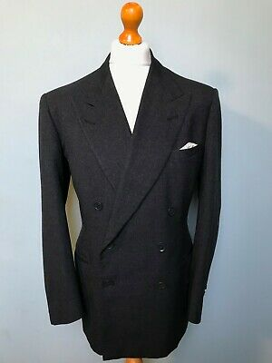 Vintage bespoke 1950's  heavy charcoal grey double breasted suit size 42