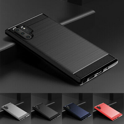 For Samsung Galaxy Note 10 Plus Shockproof Slim Fiber Carbon Soft TPU Cover Case