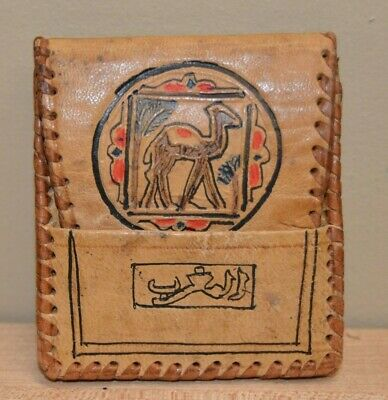 """Egyptian Indian Leather Coin Keeper Change Purse Hieroglyphic Camel 3x3"""" Vintage"""