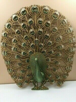 Vintage Burwood 4314 Large 3D Peacock Wall Hanging Gold & Green