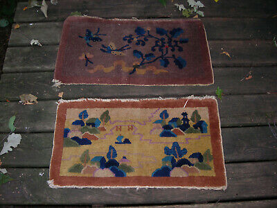 Pair Of Small Antique 1920'S Chinese Art Deco Rugs 15X28
