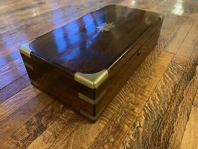 Antique Rosewood Brass Inlaid Writing Box / Slope for Restoration