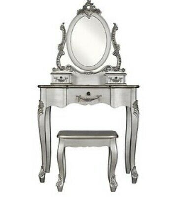 Silver Antique Style Dressing Table With Matching Mirror & Stool