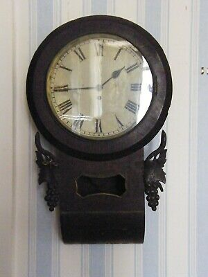 Antique-Georgian Rosewood Large Dial Wall Clock-Single Fusee-GWO-c1800
