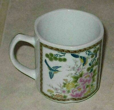Amazing Japanese Ceramic Hexagonal Coffee Cup/Mug w/Floral Design-Mint Condition
