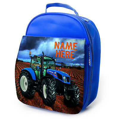 Tractor Lunch Bag School Childrens Boys Insulated Blue Personalised Farm NST001