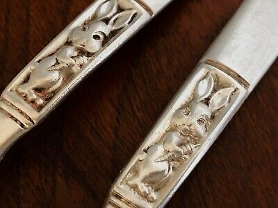 - Webster Sterling Silver Baby Fork & Spoon Set: Rabbit & Carrot No Monogram