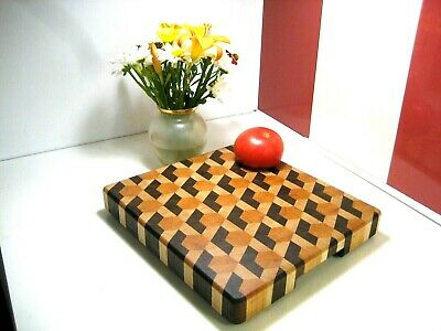 End Grain Chopping Board, Wooden Cutting Board,Handmade cherry, walnut, maple