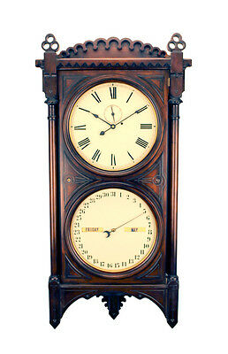 "50""H Seth Thomas Double Dial Office Perpetual Calendar No 5 Regulator Wall Clock"