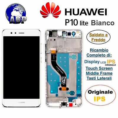 Display LCD con Touch Screen e Frame HUAWEI P10 Lite WAS-LX1A Bianco Originale