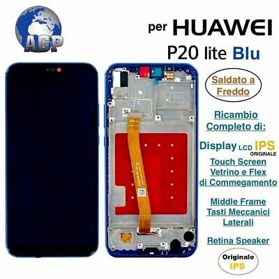 Display LCD e Touch Screen Middle Frame HUAWEI P20 Lite ANE-LX1 Blu Originale