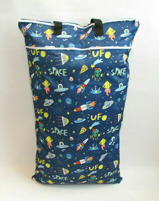 Extra Large XL Wet Bag - Baby Nappy Pail for Reusable Nappies & Pads - Rockets