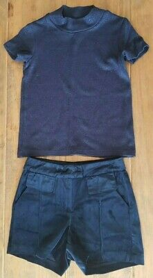 Next Age 4 Yrs Navy Blue Velvet Shorts Short Sleeve Glitter Top Outfit