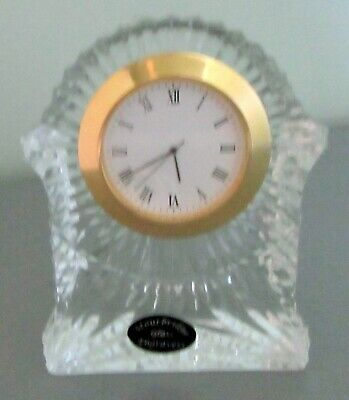 Stourbridge Crystal Glass Mantle Clock 4 Inches High