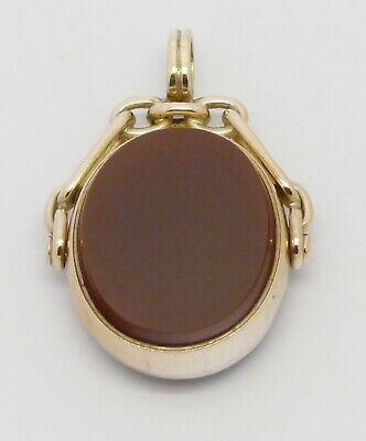 Beautiful Large Antique 9Ct Gold Carnelian Bloodstone Spinner Fob Seal Pendant