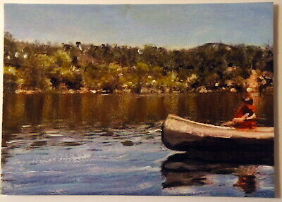 Canoeing on the Lake ACEO Original Landscape PAINTING by Leslie Popp