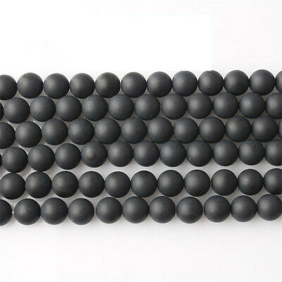 Nature Black Agate Beads Diy Accessories Shining Hole Gemstone Opaque Lots Craft