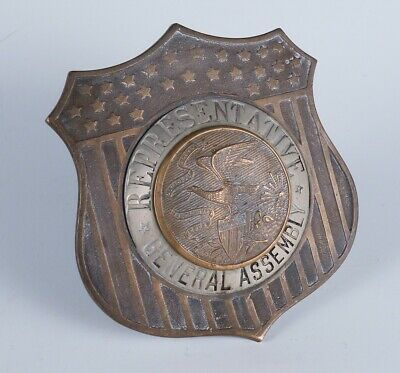 Rare Antique c1900 US General Assembly Representative Brass Car Badge Emblem