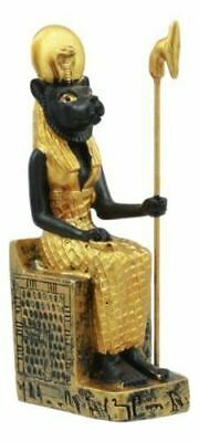 "Polyresin Egyptian Solar Lioness Goddess Sekhmet On Throne Mini Statue 3.25""H"
