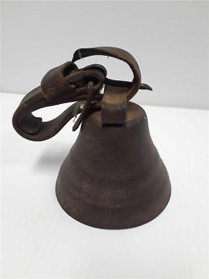 "Antique Round 4"" Cow Bell with Leather Strap"