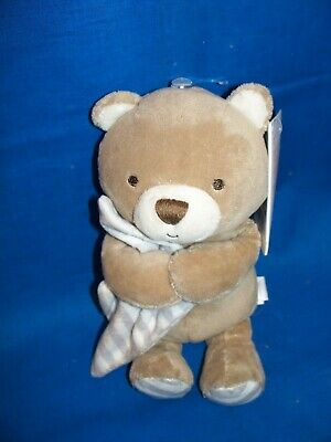 5 inches Beginnings by Enesco Plush Baby Boy Bear Rattle Blue