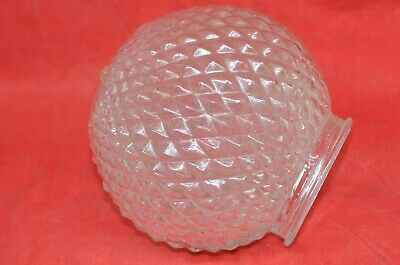 "Cut Diamond Glass Ceiling Light Lamp Shade 5"" Globe 3 1/8"" Fitter Vintage Clear"