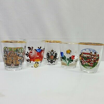 "5 Piece Shot Glass Tourist Souvenirs Gold Trim 2"" Tall Vintage Germany Austria"