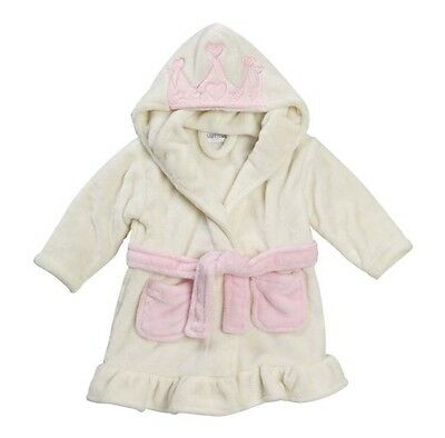 BRAND NEW Girls Hooded Fleece Princess Crown Bath Robe Dressing Gown 6-12 Months