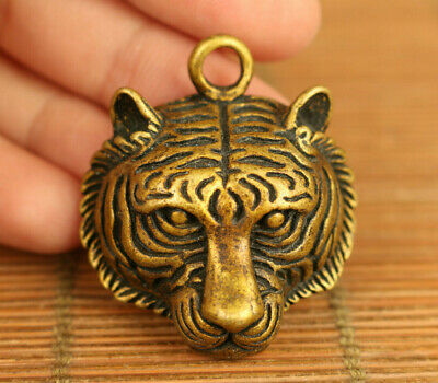 Asian old bronze hand carved tiger head statue netsuke pendant table decorate