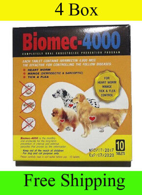 4 box 40 tablet for Dog prevent Wormer flea Mange tick as heart gard biomec 4000