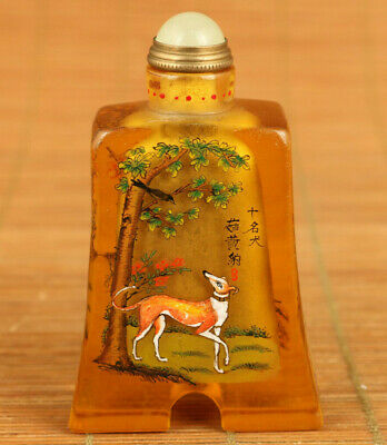 Rare antique old coloured glaze hand painted dog statue snuff bottle decoration