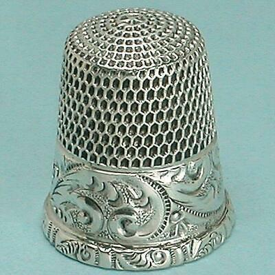 Antique Scroll Band Sterling Silver Thimble by Simons Brothers * Circa 1900s