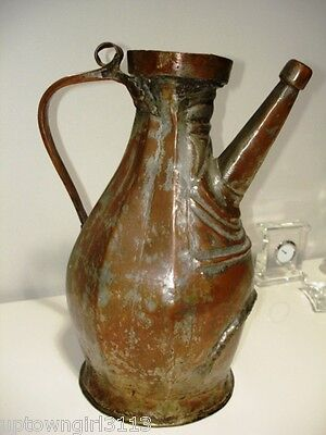 antique Arabic PERSIAN Ewer Nomadic? SYLLABIC CHARACTERS? copper roughly hewn