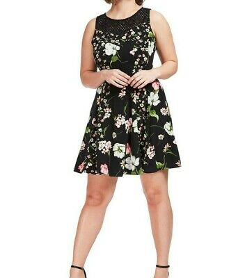 Gabby Skye Sleeveless Crepe Floral Fit And Flare Dress With
