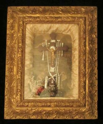 Antique Victorian Christian Mourning Art Crucifix Wood Gesso Frame Shadow Box