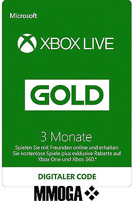 Xbox Live Gold Mitgliedschaft - 3 Monate Key Xbox 360 One 3 Month Code Card Neu*