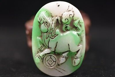 Chinese antique Jade hand carved Statue Pendants Amulet C189