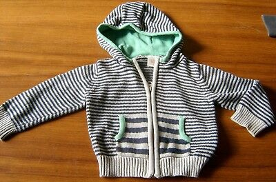 Seed Boys  Cotton Knit Zip Front Hooded Cardigan Sz 6 - 12 Months