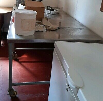 Stainless STEEL TOP large TABLE COMMERCIAL Industrial Catering on castors