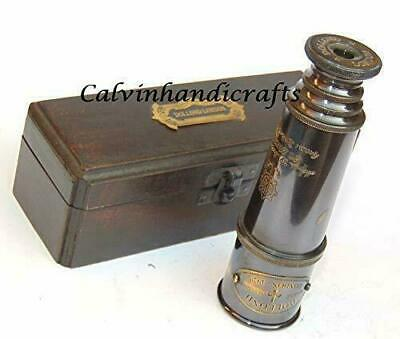 Solid Brass Nautical Telescope With Box Vintage Maritime Spyglass Ship Gift Item