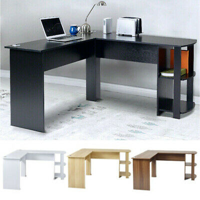 Corner Computer Desk L-Shaped Study Gaming Table With Shelves Home Office
