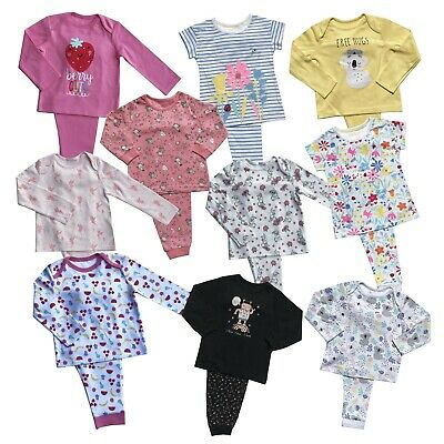 Girls Baby Ex Store Pyjamas Pjs Pj Set 2 & 3 Packs Long Sleeve / Short Sleeve