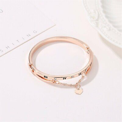 Fashion Women Roman Numeral Bracelet Band Love Forever Gold Bangle Jewelry Charm