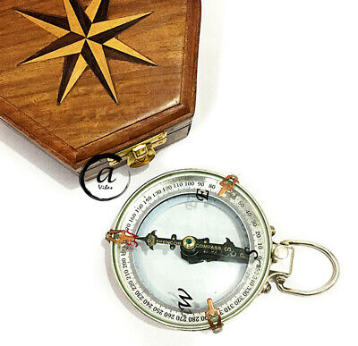 Halloween Solid Wooden Box Vintage Silver Compass Navigation Maritime Functional