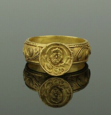 STUNNING ANCIENT BYZANTINE GOLD RING CIRCA - 9th Century AD