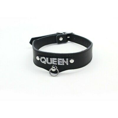 Adult Sex Fetish Leather Collar Neck Choker QUEEN Party Role Play New
