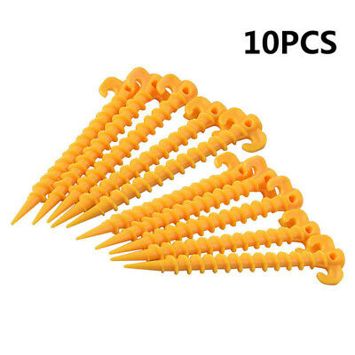 10pcs Hook Plastic Stakes Support Ground Nails Tent Pegs Screw Anchor Shelter zx