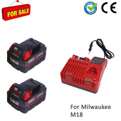 18V 5Ah for Milwaukee batterie M18B5 Red Li18 48-11-1811 2+chargeur M12-M18 X2
