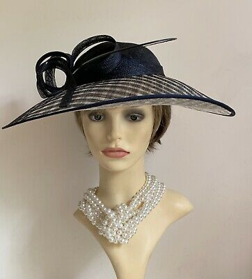 Black And Natural Sinamay Large Fascinator Cartwheel Hat With Headband And Bow