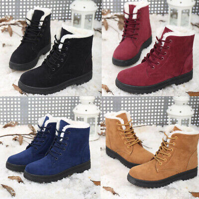 AU Women Winter Warm Shoes Flats Fur Lined Snow Ankle Lace Up Boots Round Toe